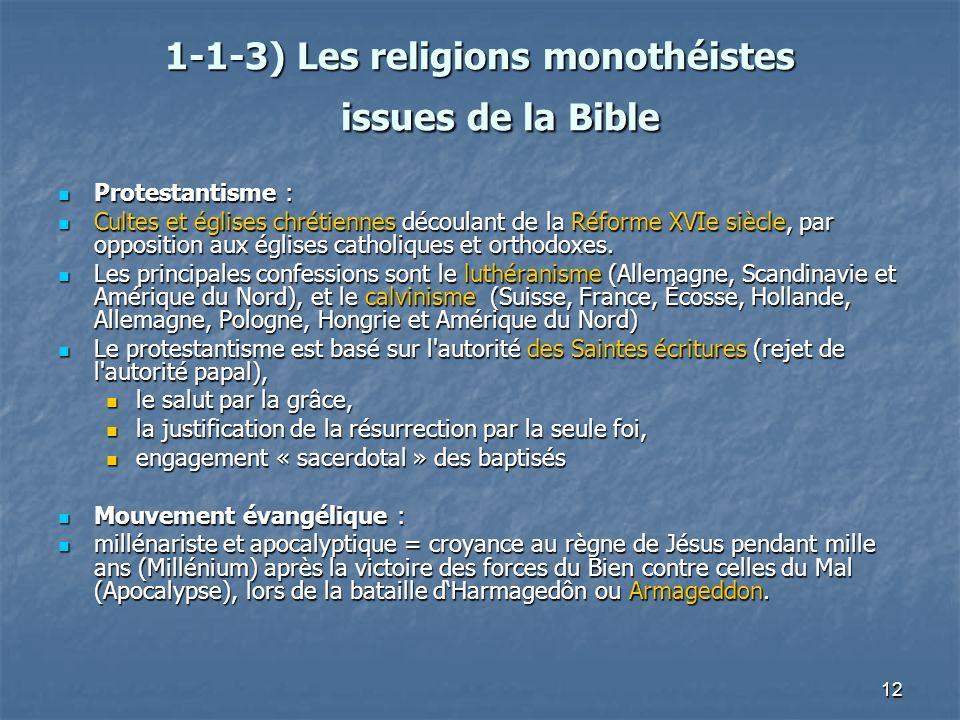 12 1-1-3) Les religions monothéistes issues de la Bible 1-1-3) Les religions monothéistes issues de la Bible Protestantisme : Protestantisme : Cultes