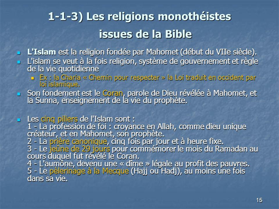 15 1-1-3) Les religions monothéistes issues de la Bible 1-1-3) Les religions monothéistes issues de la Bible L'Islam est la religion fondée par Mahome