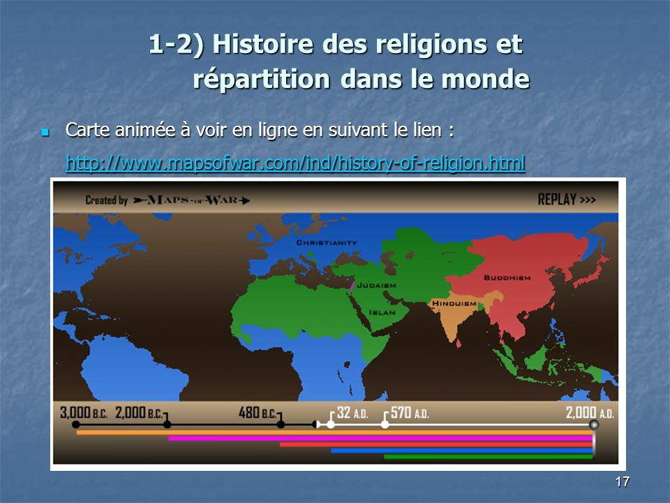 17 1-2) Histoire des religions et répartition dans le monde 1-2) Histoire des religions et répartition dans le monde Carte animée à voir en ligne en s