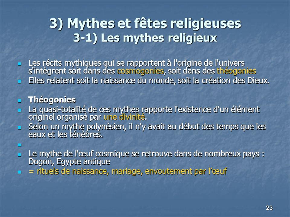 23 3) Mythes et fêtes religieuses 3-1) Les mythes religieux Les récits mythiques qui se rapportent à l'origine de l'univers s'intègrent soit dans des