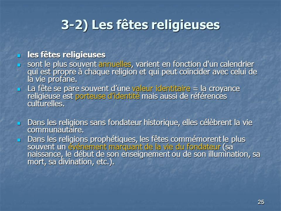 25 3-2) Les fêtes religieuses les fêtes religieuses les fêtes religieuses sont le plus souvent annuelles, varient en fonction d'un calendrier qui est