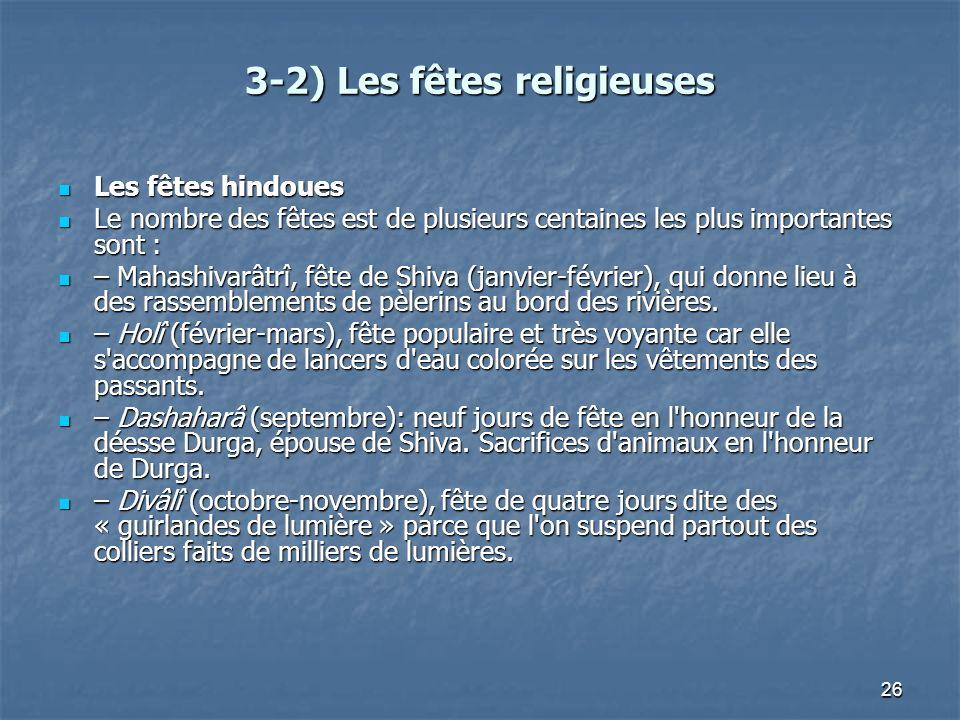 26 3-2) Les fêtes religieuses Les fêtes hindoues Les fêtes hindoues Le nombre des fêtes est de plusieurs centaines les plus importantes sont : Le nomb