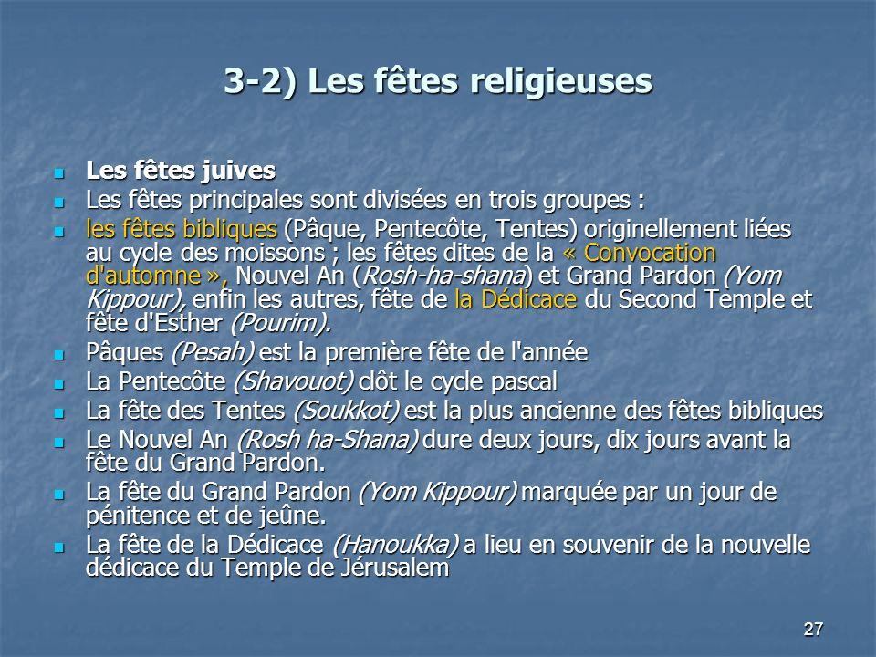 27 3-2) Les fêtes religieuses Les fêtes juives Les fêtes juives Les fêtes principales sont divisées en trois groupes : Les fêtes principales sont divi