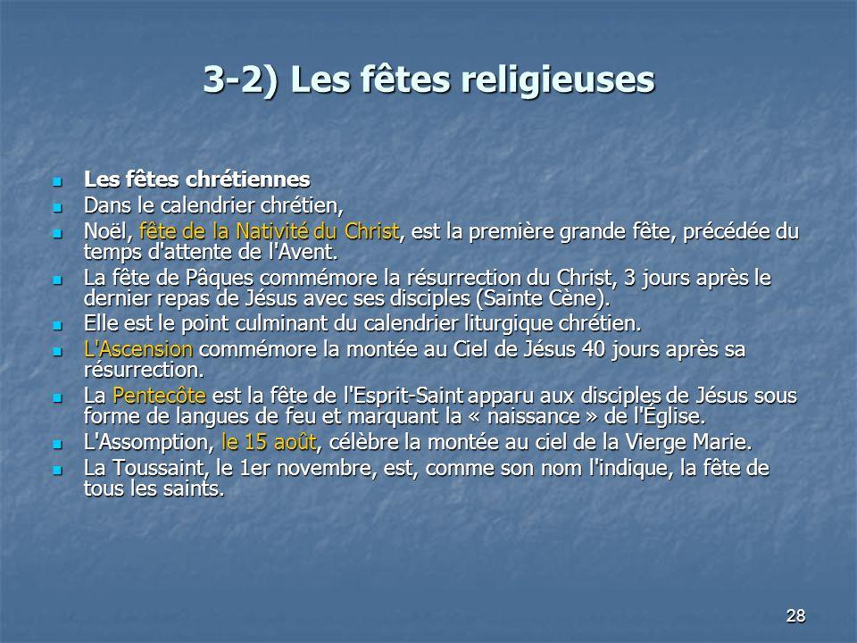 28 3-2) Les fêtes religieuses Les fêtes chrétiennes Les fêtes chrétiennes Dans le calendrier chrétien, Dans le calendrier chrétien, Noël, fête de la N