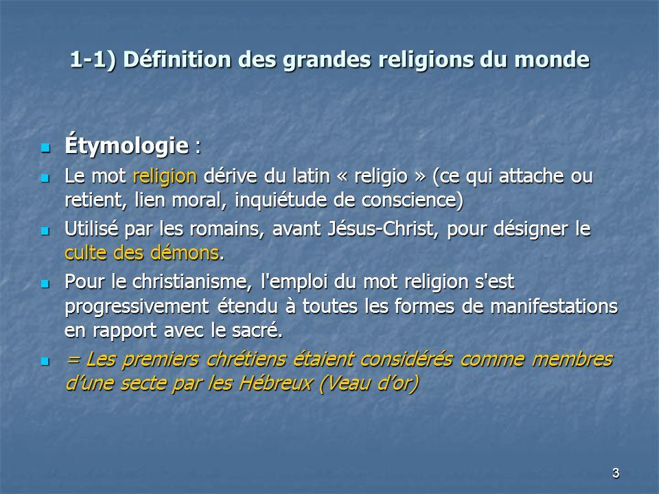 3 1-1) Définition des grandes religions du monde Étymologie : Étymologie : Le mot religion dérive du latin « religio » (ce qui attache ou retient, lie