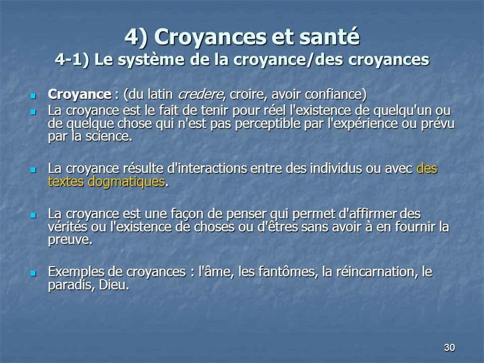 30 4) Croyances et santé 4-1) Le système de la croyance/des croyances Croyance : (du latin credere, croire, avoir confiance) Croyance : (du latin cred