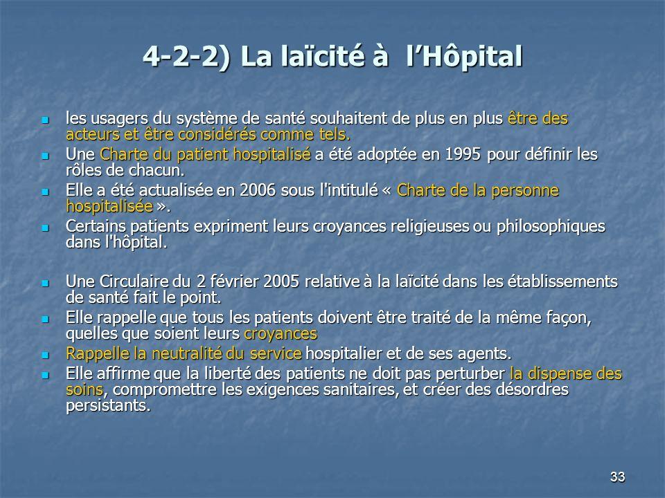 33 4-2-2) La laïcité à lHôpital les usagers du système de santé souhaitent de plus en plus être des acteurs et être considérés comme tels. les usagers