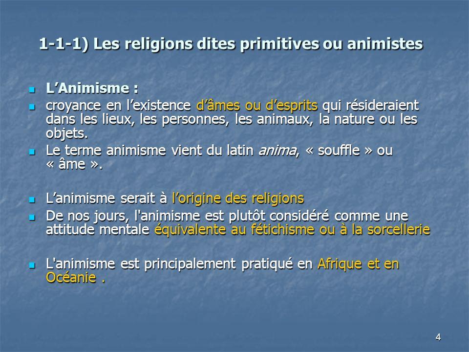 4 1-1-1) Les religions dites primitives ou animistes 1-1-1) Les religions dites primitives ou animistes LAnimisme : LAnimisme : croyance en lexistence