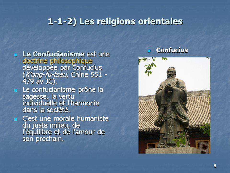 8 1-1-2) Les religions orientales Le Confucianisme est une doctrine philosophique développée par Confucius (K'ong-fu-tseu, Chine 551 - 479 av JC). Le