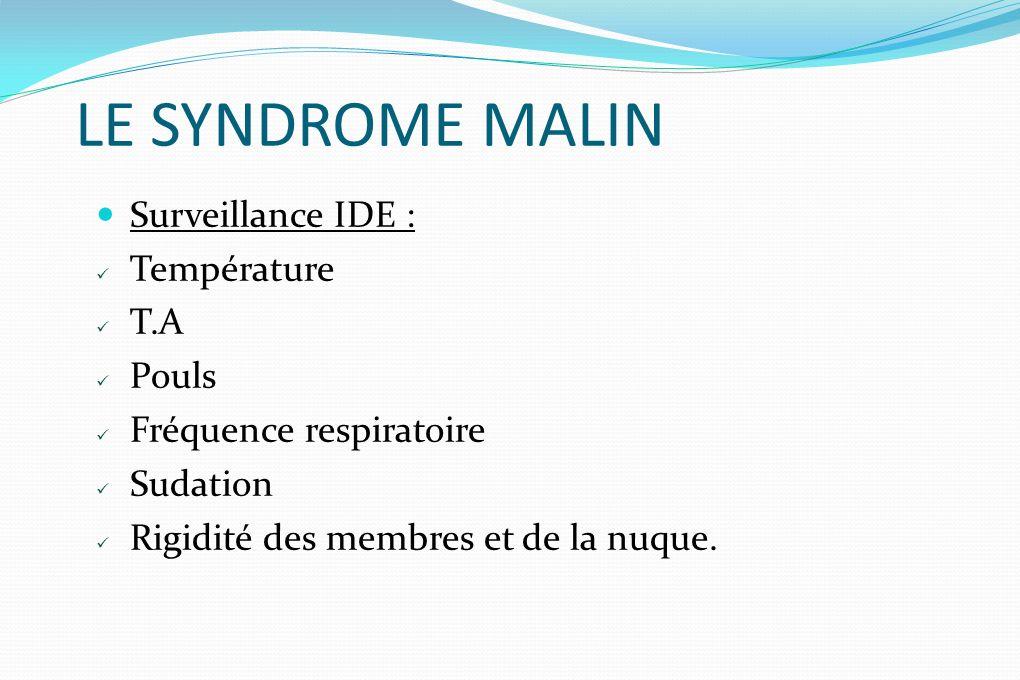LE SYNDROME MALIN Surveillance IDE : Température T.A Pouls Fréquence respiratoire Sudation Rigidité des membres et de la nuque.