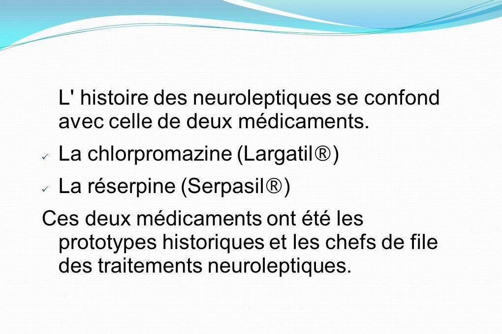 L' histoire des neuroleptiques se confond avec celle de deux médicaments. La chlorpromazine (Largatil ® ) La réserpine (Serpasil ® ) Ces deux médicame