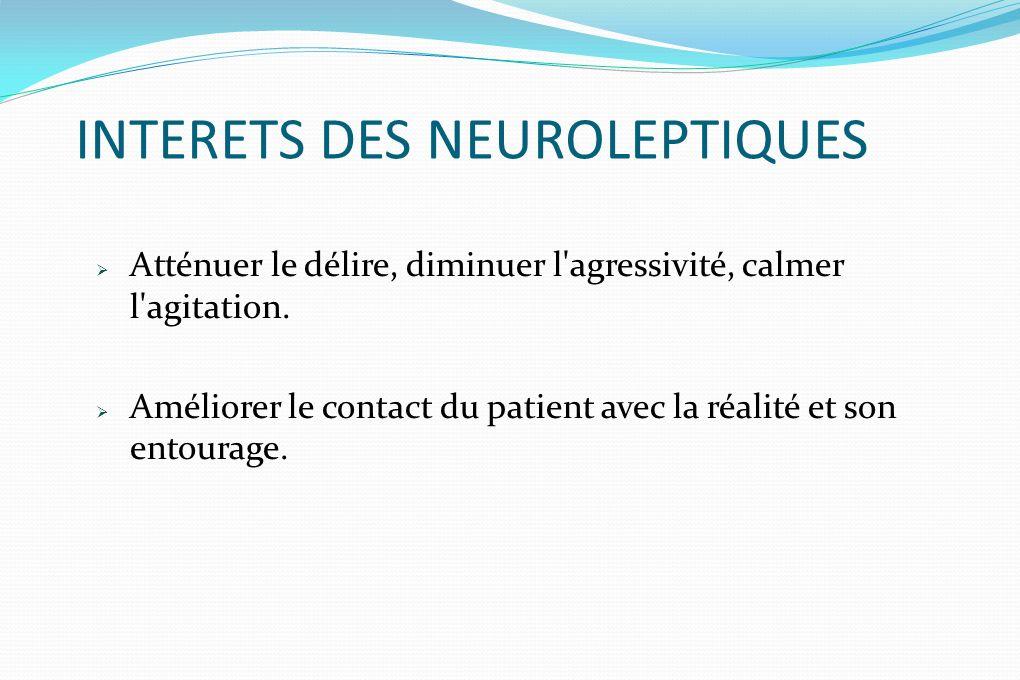 INTERETS DES NEUROLEPTIQUES Atténuer le délire, diminuer l'agressivité, calmer l'agitation. Améliorer le contact du patient avec la réalité et son ent