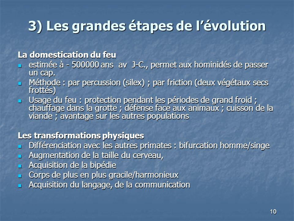 10 3) Les grandes étapes de lévolution La domestication du feu estimée à - 500000 ans av J-C., permet aux hominidés de passer un cap. estimée à - 5000