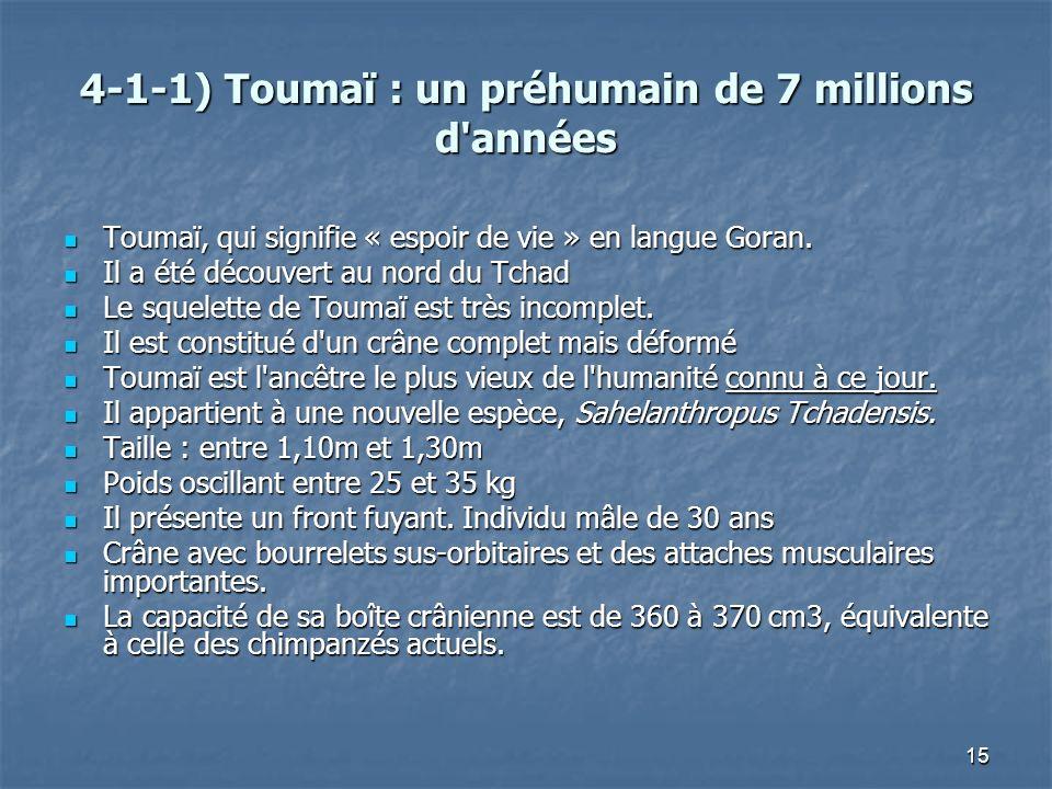 15 4-1-1) Toumaï : un préhumain de 7 millions d'années Toumaï, qui signifie « espoir de vie » en langue Goran. Toumaï, qui signifie « espoir de vie »