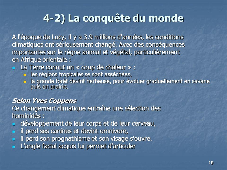 19 4-2) La conquête du monde A l'époque de Lucy, il y a 3.9 millions d'années, les conditions climatiques ont sérieusement changé. Avec des conséquenc