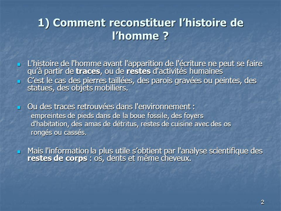 2 1) Comment reconstituer lhistoire de lhomme ? L'histoire de l'homme avant l'apparition de l'écriture ne peut se faire quà partir de traces, ou de re