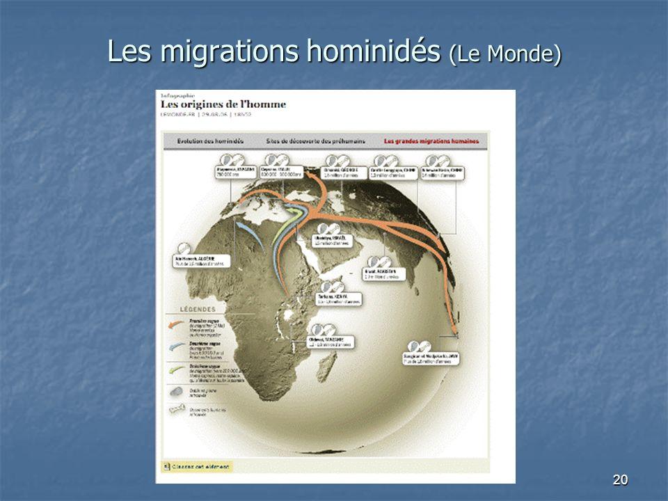 20 Les migrations hominidés (Le Monde)