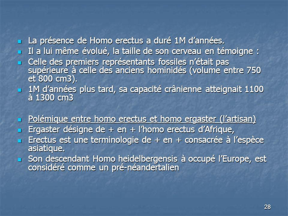 28 La présence de Homo erectus a duré 1M dannées. La présence de Homo erectus a duré 1M dannées. Il a lui même évolué, la taille de son cerveau en tém