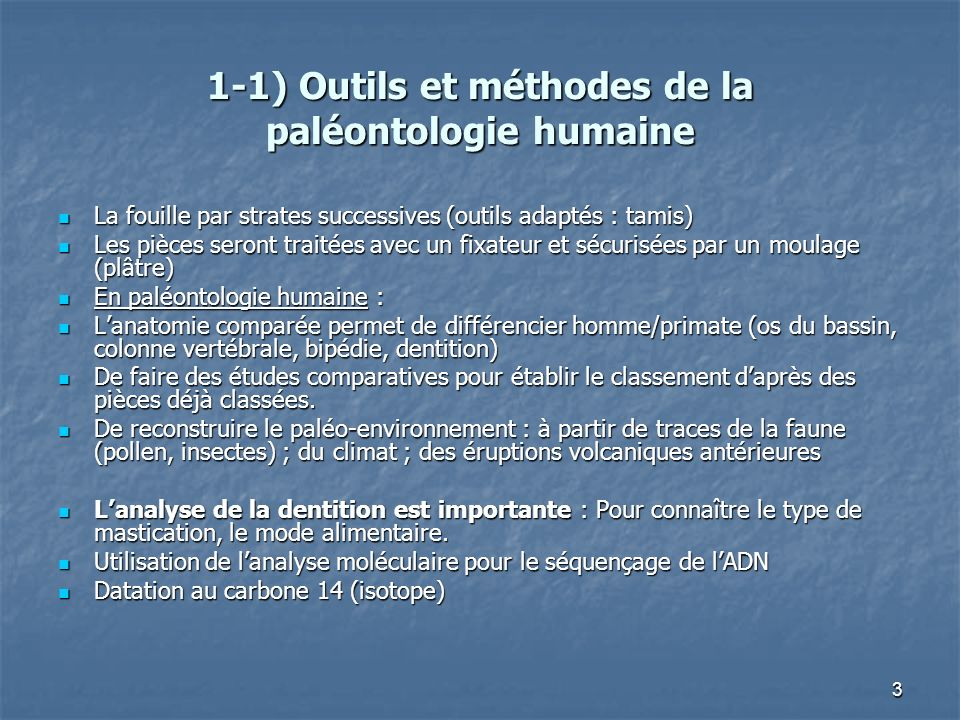 3 1-1) Outils et méthodes de la paléontologie humaine La fouille par strates successives (outils adaptés : tamis) La fouille par strates successives (