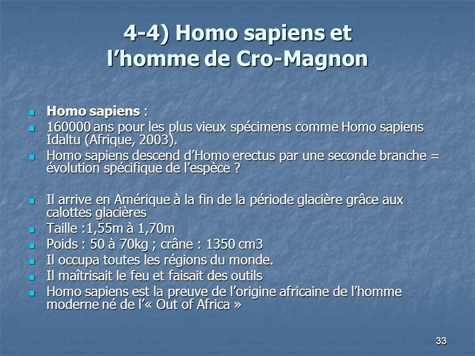 33 4-4) Homo sapiens et lhomme de Cro-Magnon Homo sapiens : Homo sapiens : 160000 ans pour les plus vieux spécimens comme Homo sapiens Idaltu (Afrique