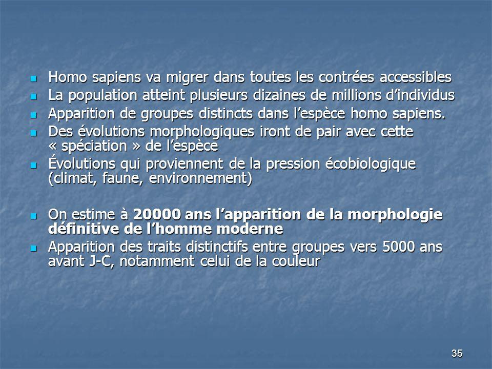 35 Homo sapiens va migrer dans toutes les contrées accessibles Homo sapiens va migrer dans toutes les contrées accessibles La population atteint plusi
