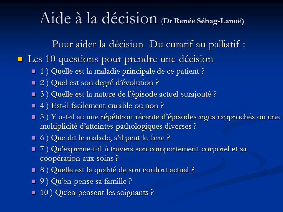 Aide à la décision (Dr Renée Sébag-Lanoë) Pour aider la décision Du curatif au palliatif : Les 10 questions pour prendre une décision Les 10 questions