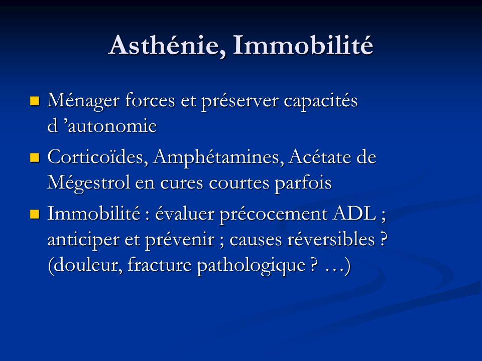 Asthénie, Immobilité Ménager forces et préserver capacités d autonomie Ménager forces et préserver capacités d autonomie Corticoïdes, Amphétamines, Ac