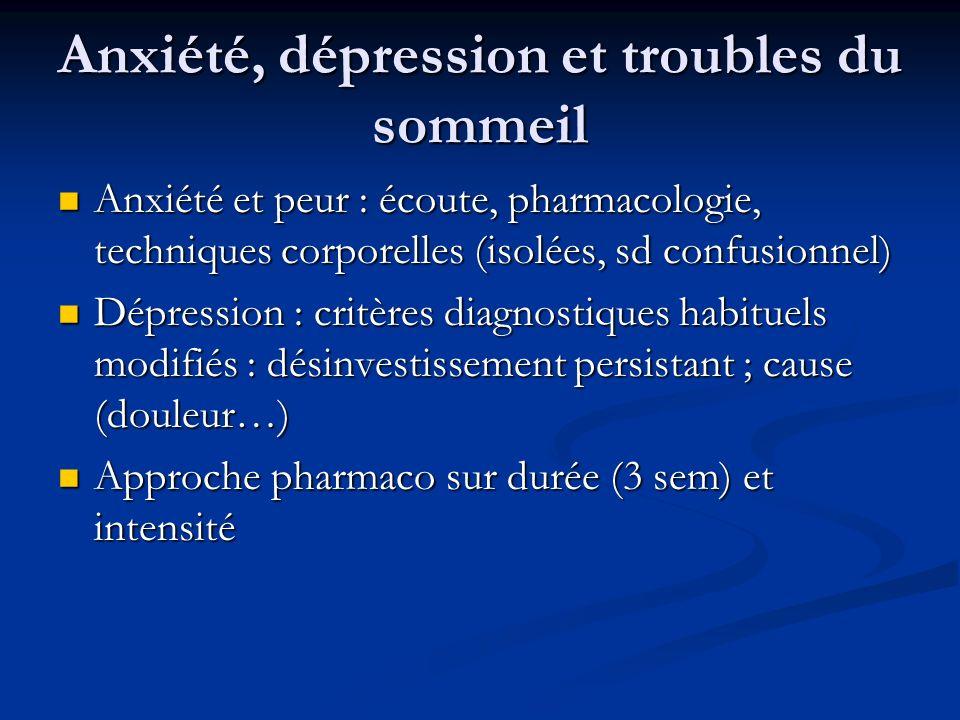 Anxiété, dépression et troubles du sommeil Anxiété et peur : écoute, pharmacologie, techniques corporelles (isolées, sd confusionnel) Anxiété et peur