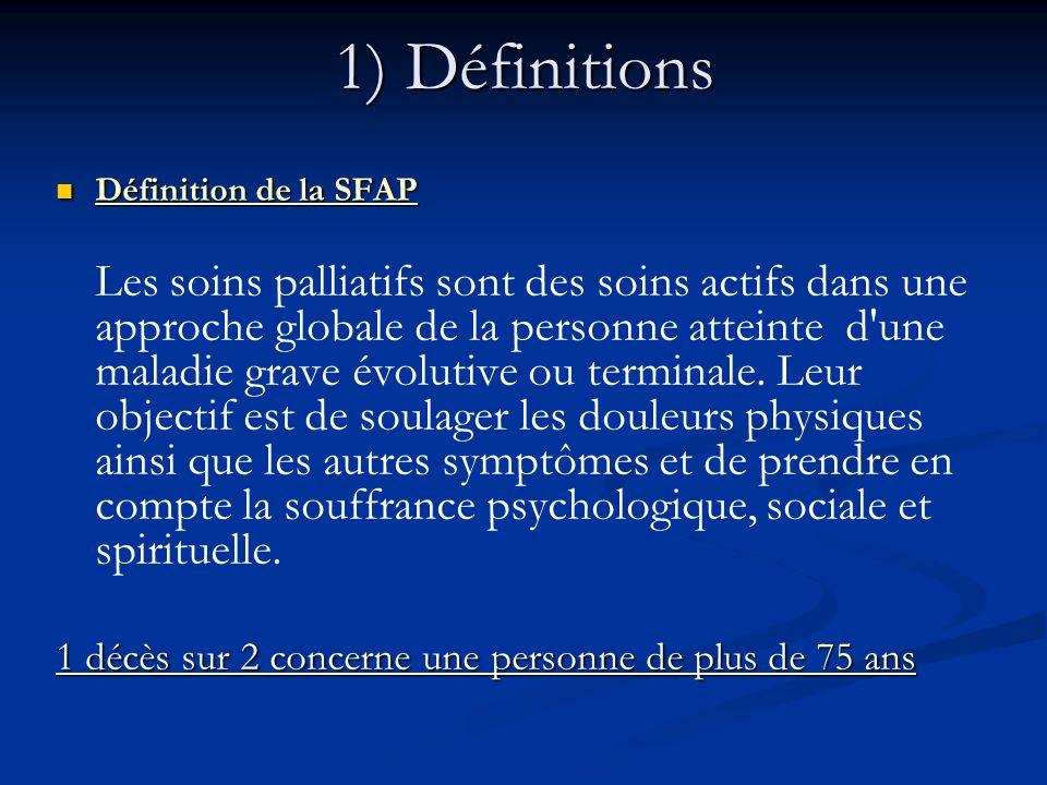 1) Définitions Définition de la SFAP Définition de la SFAP Les soins palliatifs sont des soins actifs dans une approche globale de la personne atteint