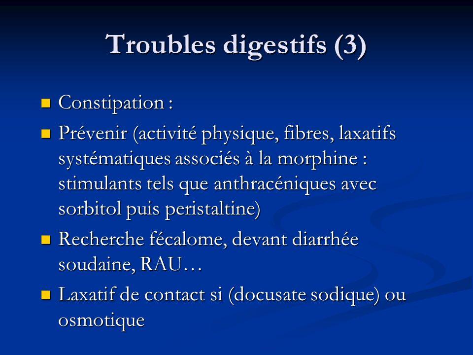 Troubles digestifs (3) Constipation : Constipation : Prévenir (activité physique, fibres, laxatifs systématiques associés à la morphine : stimulants t