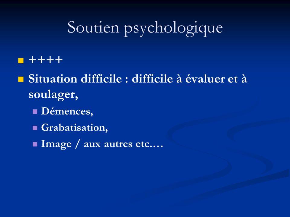 Soutien psychologique ++++ Situation difficile : difficile à évaluer et à soulager, Démences, Grabatisation, Image / aux autres etc.…