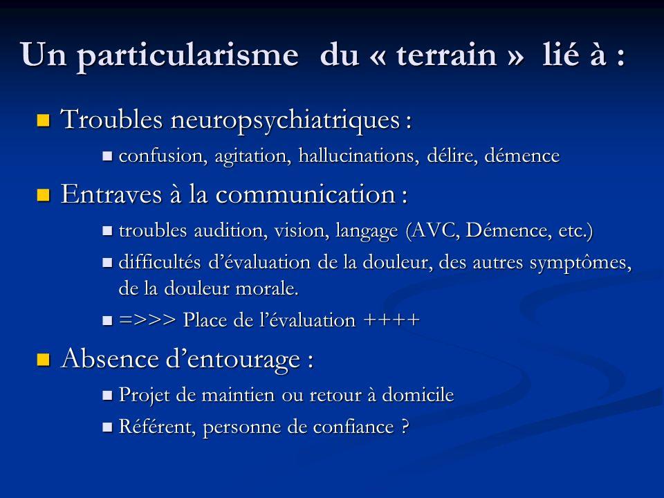 Un particularisme du « terrain » lié à : Troubles neuropsychiatriques : Troubles neuropsychiatriques : confusion, agitation, hallucinations, délire, d