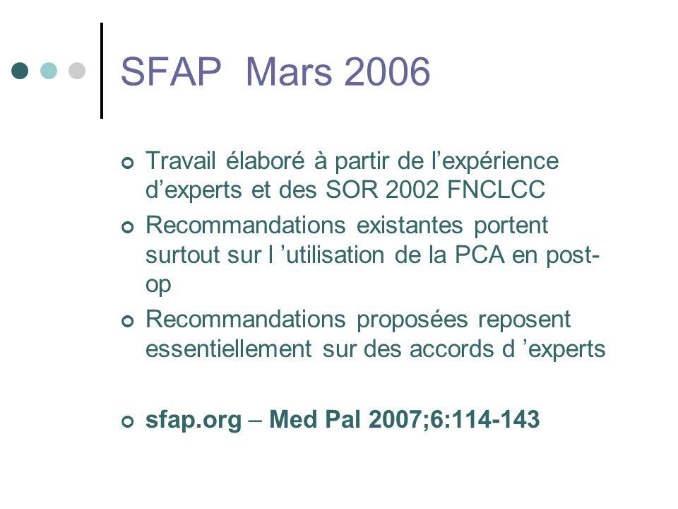SFAP Mars 2006 Travail élaboré à partir de lexpérience dexperts et des SOR 2002 FNCLCC Recommandations existantes portent surtout sur l utilisation de la PCA en post- op Recommandations proposées reposent essentiellement sur des accords d experts sfap.org – Med Pal 2007;6:114-143