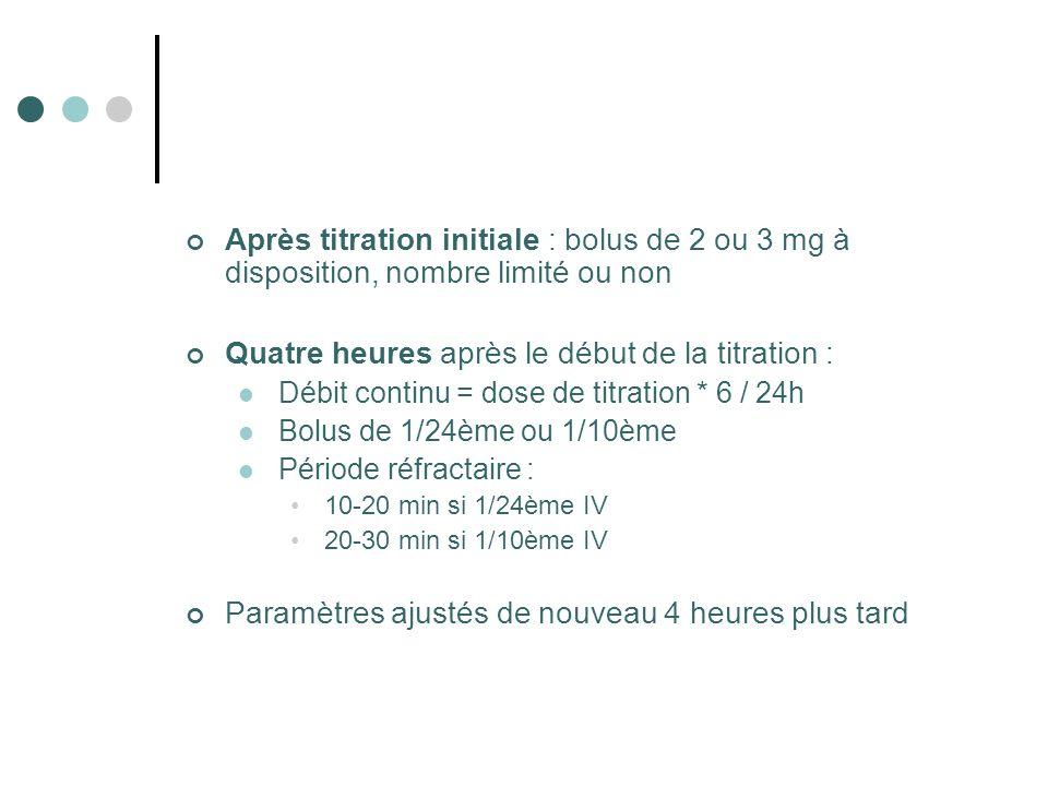 Après titration initiale : bolus de 2 ou 3 mg à disposition, nombre limité ou non Quatre heures après le début de la titration : Débit continu = dose de titration * 6 / 24h Bolus de 1/24ème ou 1/10ème Période réfractaire : 10-20 min si 1/24ème IV 20-30 min si 1/10ème IV Paramètres ajustés de nouveau 4 heures plus tard