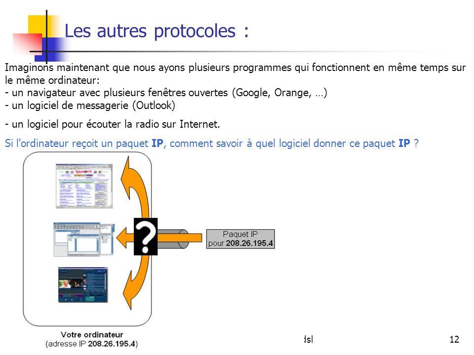 jcp\afm\reseaux et adsl12 Les autres protocoles : Imaginons maintenant que nous ayons plusieurs programmes qui fonctionnent en même temps sur le même
