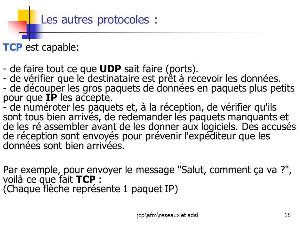 jcp\afm\reseaux et adsl18 Les autres protocoles : TCP est capable: - de faire tout ce que UDP sait faire (ports). - de vérifier que le destinataire es
