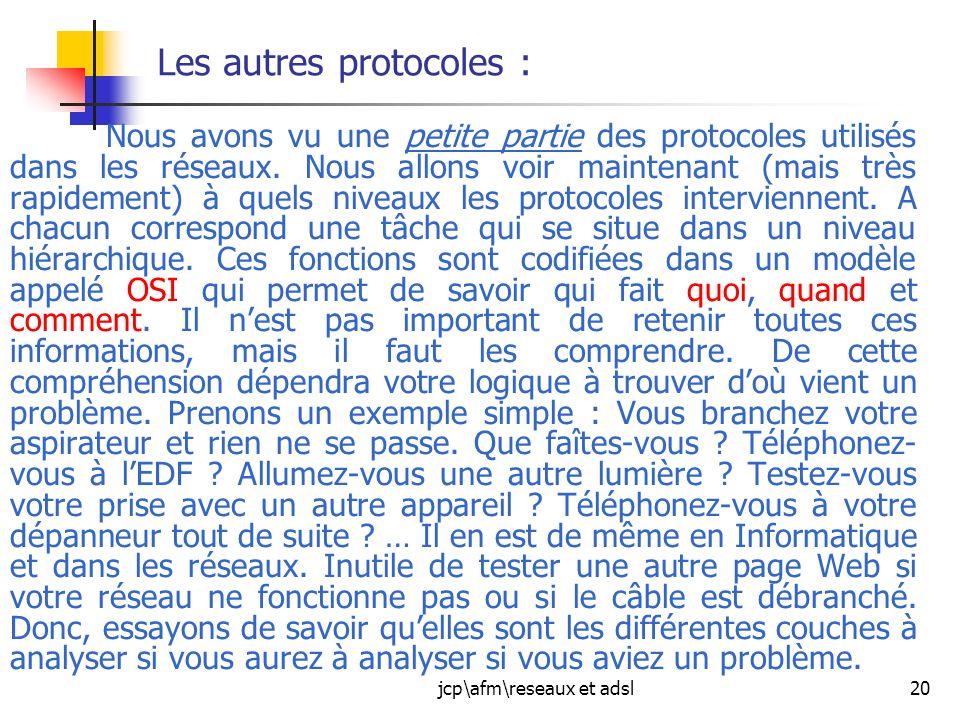 jcp\afm\reseaux et adsl20 Les autres protocoles : Nous avons vu une petite partie des protocoles utilisés dans les réseaux. Nous allons voir maintenan
