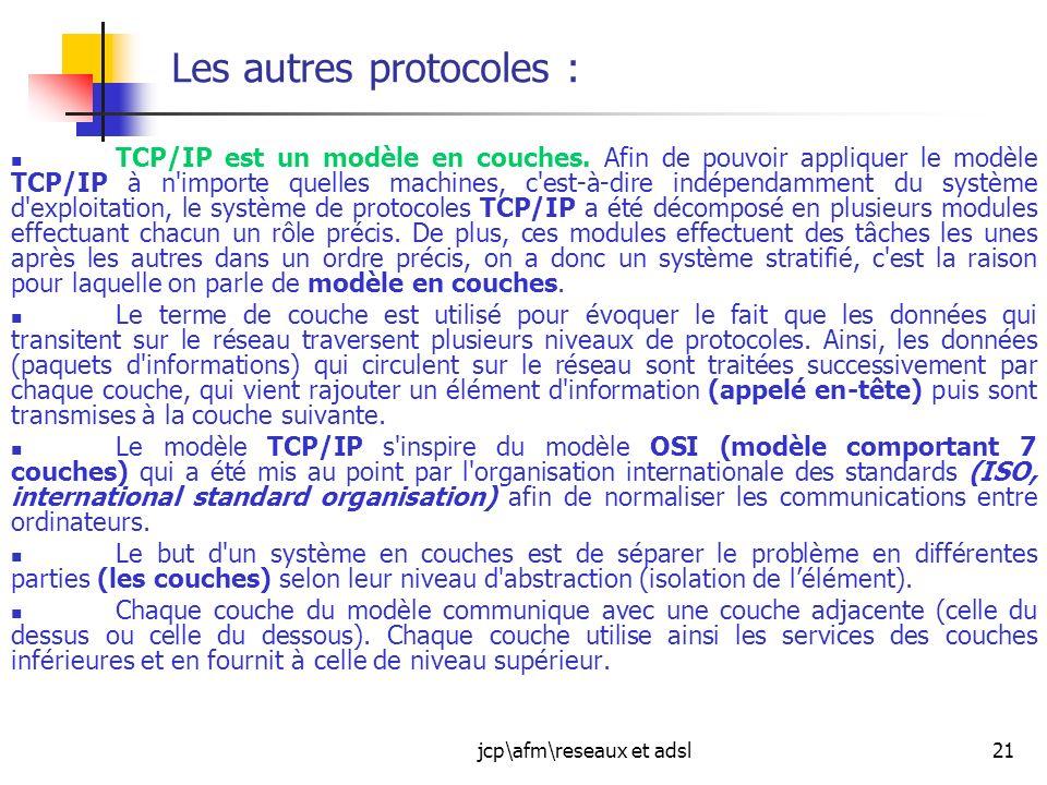 jcp\afm\reseaux et adsl21 Les autres protocoles : TCP/IP est un modèle en couches. Afin de pouvoir appliquer le modèle TCP/IP à n'importe quelles mach
