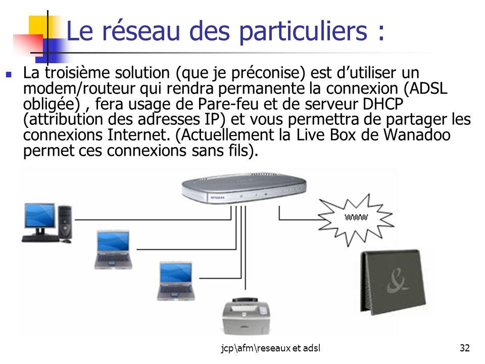 jcp\afm\reseaux et adsl32 Le réseau des particuliers : La troisième solution (que je préconise) est dutiliser un modem/routeur qui rendra permanente l