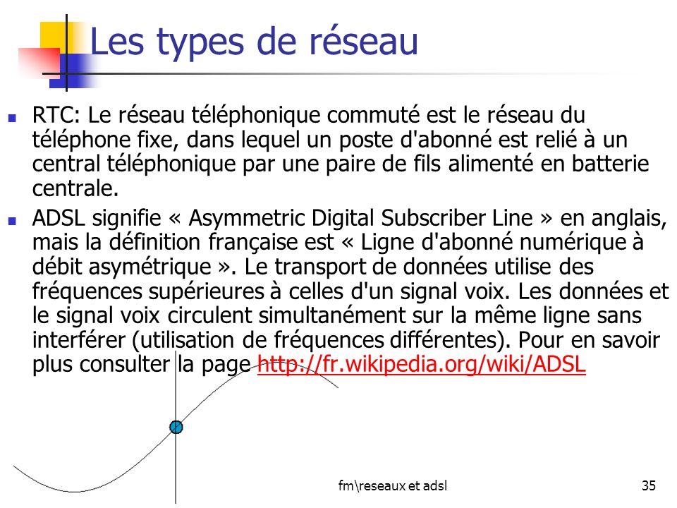 jcp\afm\reseaux et adsl35 Les types de réseau RTC: Le réseau téléphonique commuté est le réseau du téléphone fixe, dans lequel un poste d'abonné est r