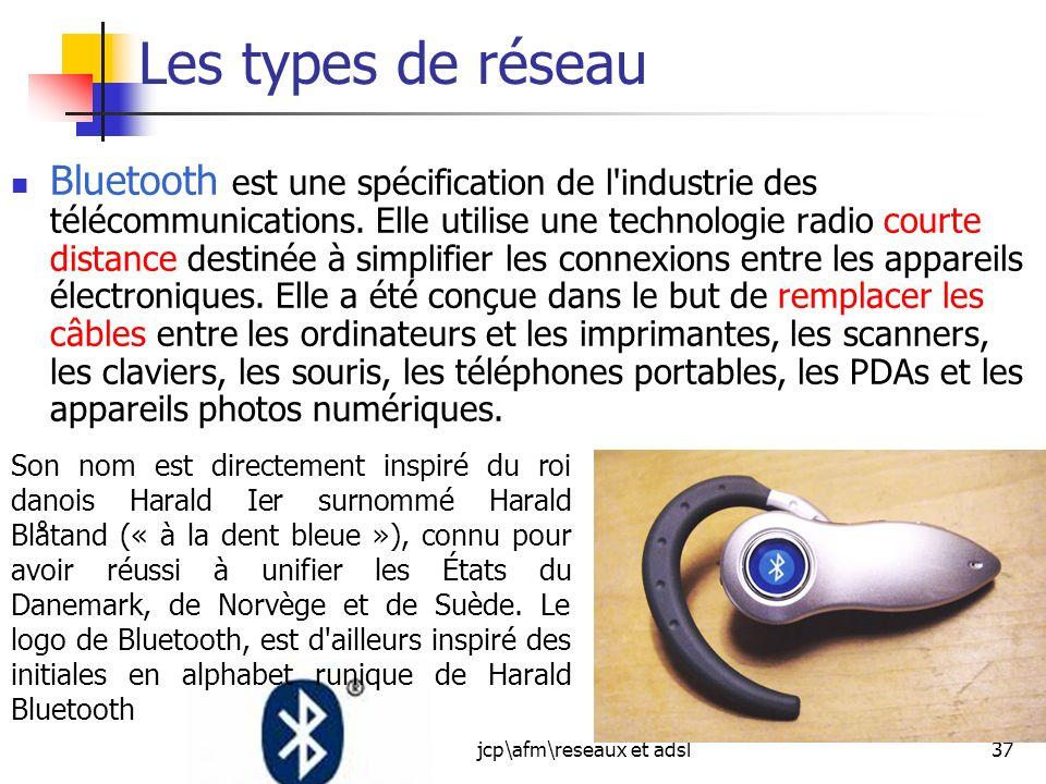 jcp\afm\reseaux et adsl37 Les types de réseau Bluetooth est une spécification de l'industrie des télécommunications. Elle utilise une technologie radi