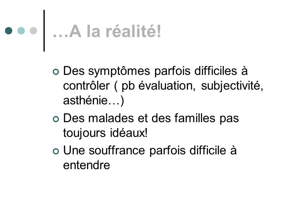 …A la réalité! Des symptômes parfois difficiles à contrôler ( pb évaluation, subjectivité, asthénie…) Des malades et des familles pas toujours idéaux!