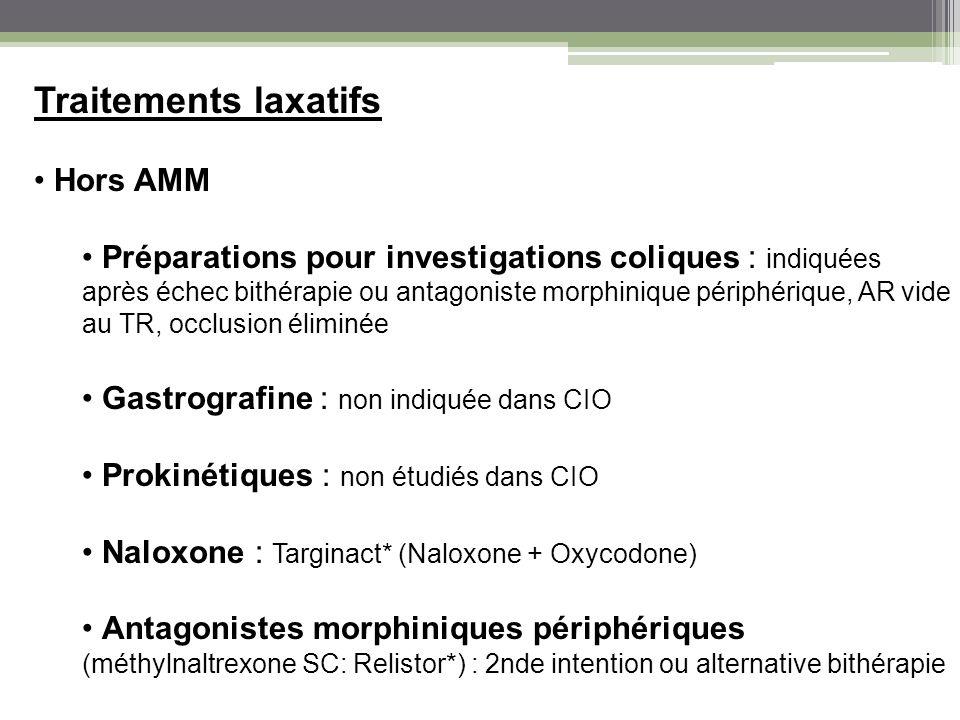 Traitements laxatifs Hors AMM Préparations pour investigations coliques : indiquées après échec bithérapie ou antagoniste morphinique périphérique, AR
