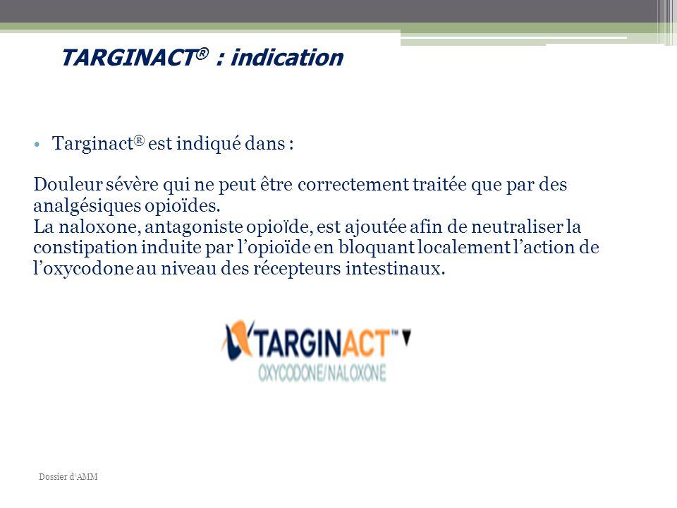 Targinact ® est indiqué dans : Douleur sévère qui ne peut être correctement traitée que par des analgésiques opioïdes. La naloxone, antagoniste opio ï