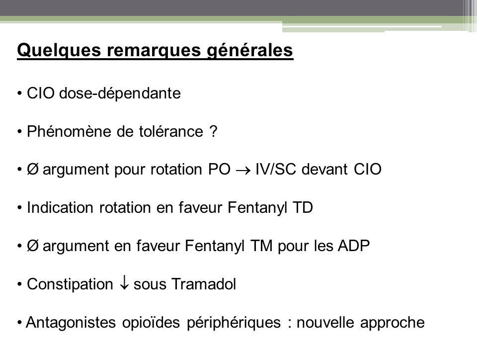 Quelques remarques générales CIO dose-dépendante Phénomène de tolérance ? Ø argument pour rotation PO IV/SC devant CIO Indication rotation en faveur F