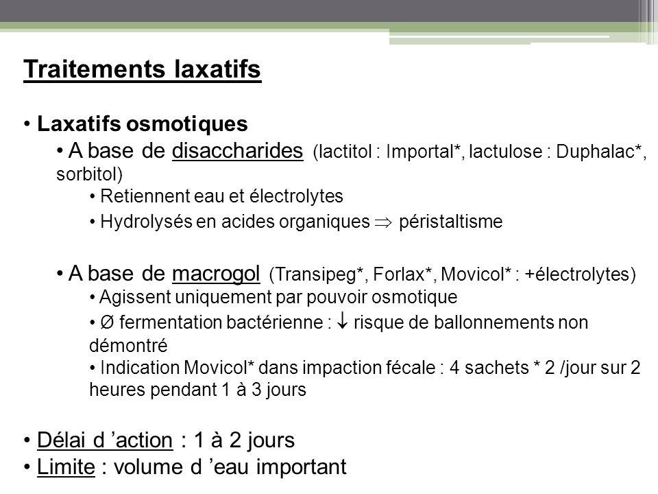 Traitements laxatifs Laxatifs osmotiques A base de disaccharides (lactitol : Importal*, lactulose : Duphalac*, sorbitol) Retiennent eau et électrolyte