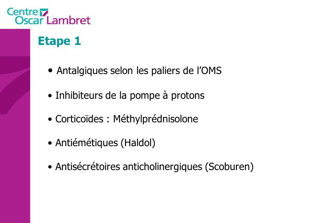 Etape 1 Antalgiques selon les paliers de lOMS Inhibiteurs de la pompe à protons Corticoïdes : Méthylprédnisolone Antiémétiques (Haldol) Antisécrétoire