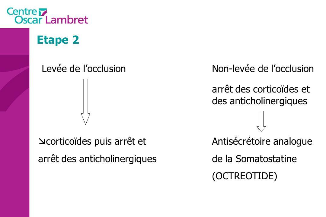 Etape 2 Levée de locclusionNon-levée de locclusion arrêt des corticoïdes et des anticholinergiques corticoïdes puis arrêt et Antisécrétoire analogue a