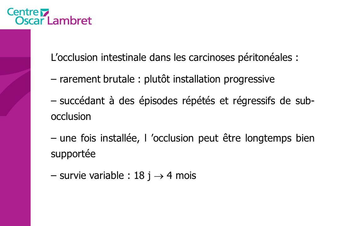 Locclusion intestinale dans les carcinoses péritonéales : – rarement brutale : plutôt installation progressive – succédant à des épisodes répétés et r