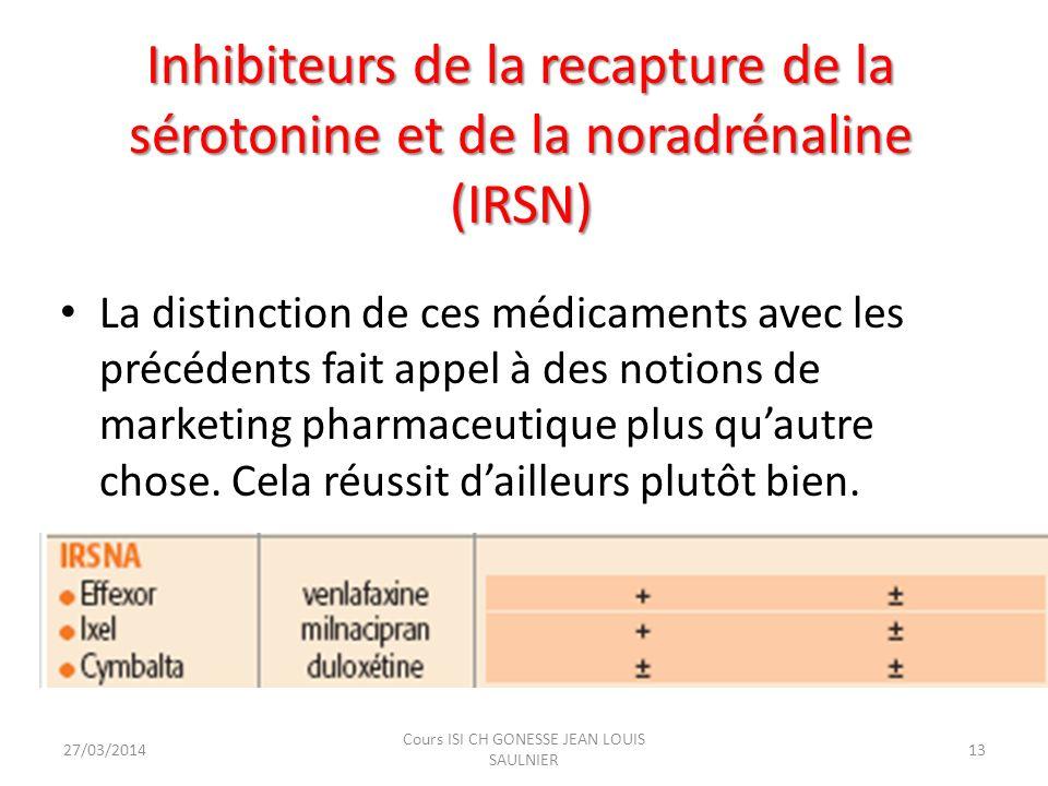 Inhibiteurs de la recapture de la sérotonine et de la noradrénaline (IRSN) Inhibiteurs de la recapture de la sérotonine et de la noradrénaline (IRSN)